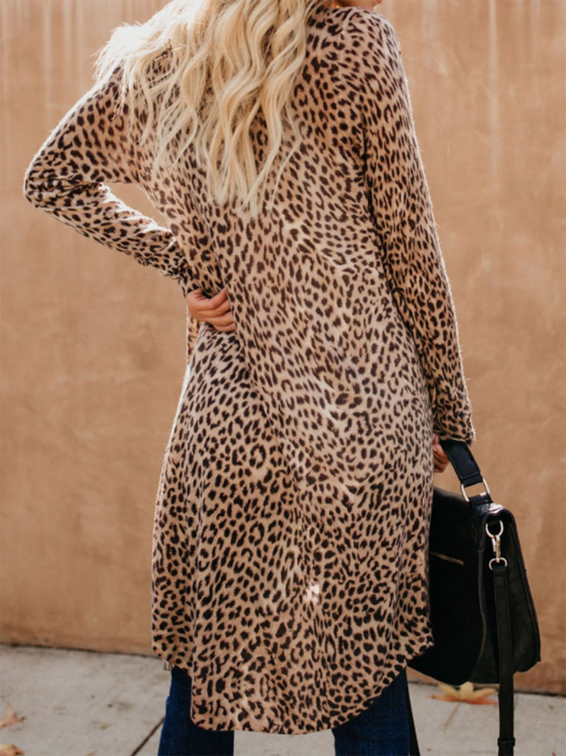 Leopard Print Printed Long Sleeve Casual Cardigan