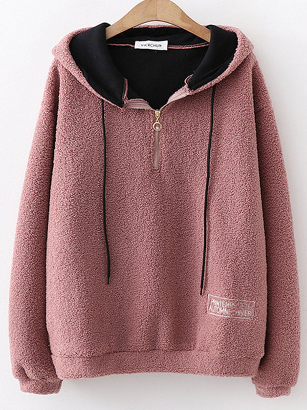 Sweet Appliqued Hoodie Long Sleeve Hoodies