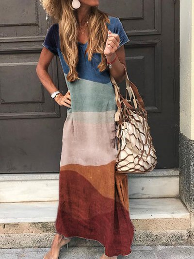 Blue Ombre/tie-Dye Cotton Casual Dresses