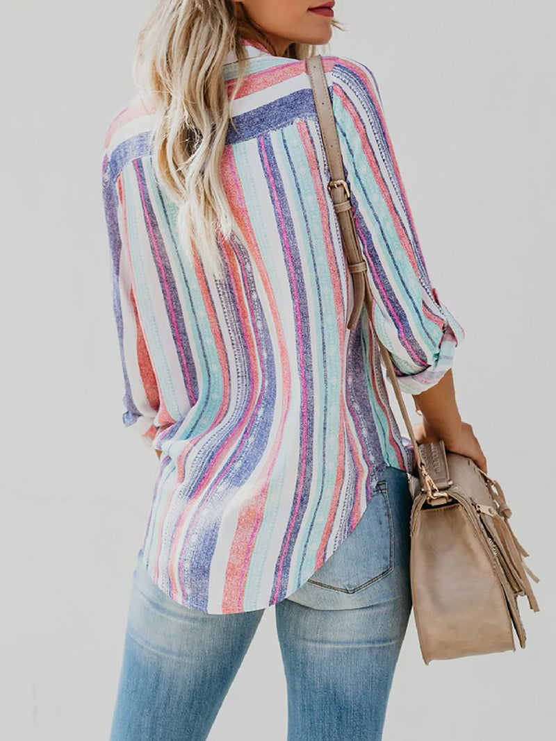 Multicolor Striped Casual Tops - louses