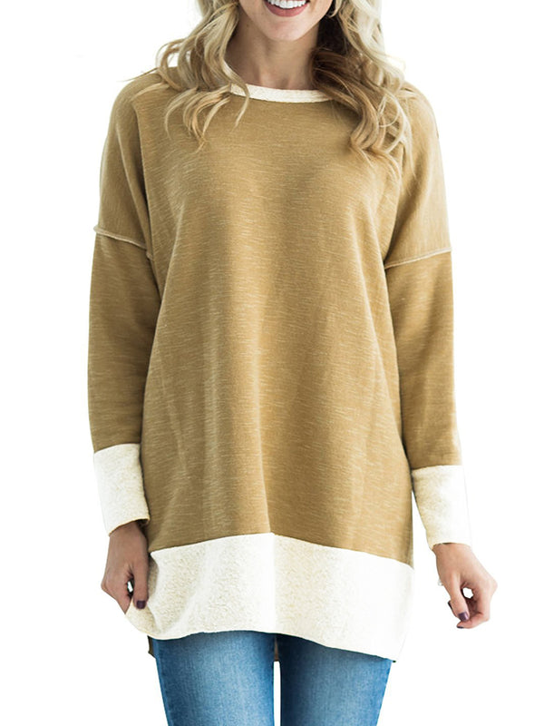 Long Sleeve Casual Paneled Solid Crew Neck Sweatshirt