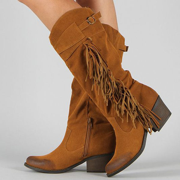 Tassel Fall Suede Casual Boots