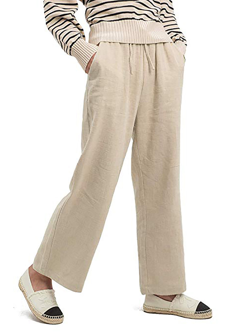 Solid Casual Pants Plus Size Wide Leg Pants