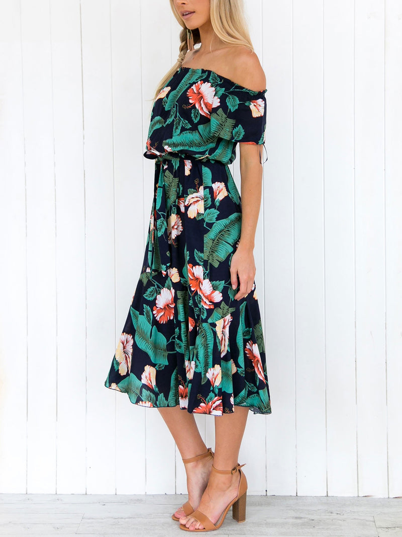 Green Chiffon Floral Printed Off Shoulder A-line Midi Dress