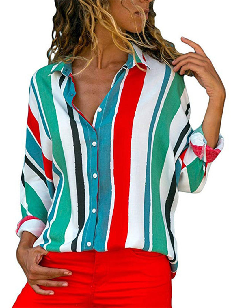 Casual Striped Chiffon Printed Tops Blouses
