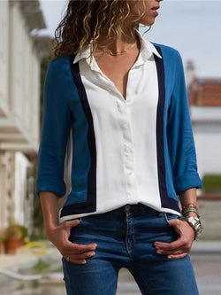 Casual Patchwork Shirt Collar Tops - Blouses