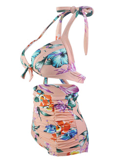 Pink Bandeau Floral-printed Backless Bikinis