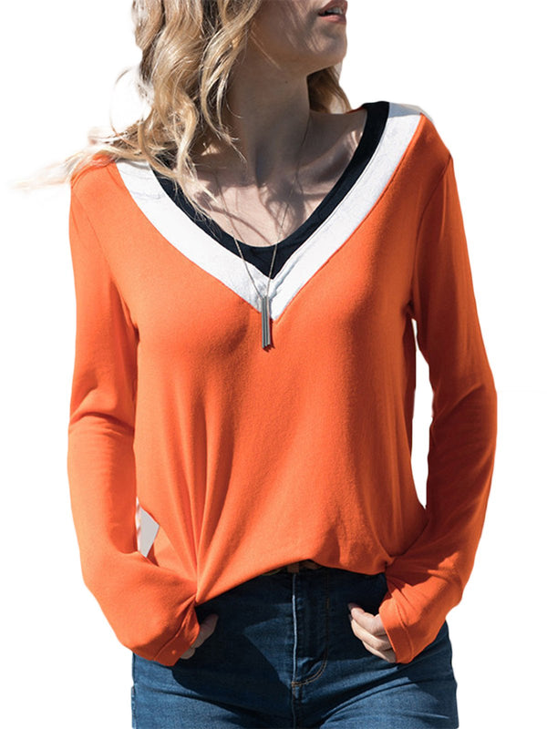 Casual V Neck Long Sleeve Color-Block -T-shirts