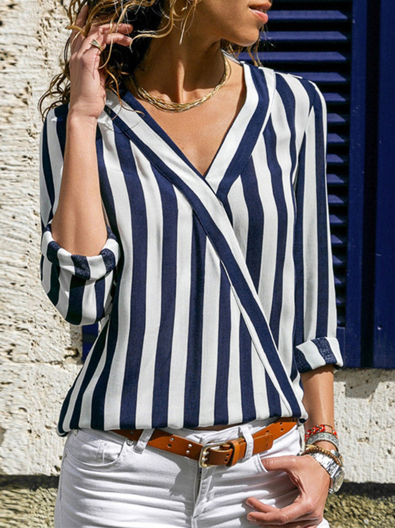 Striped V Neck Casual Tops - Blouses
