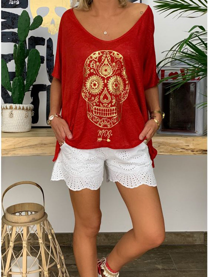 Casual Round Neck Short Sleeve Printed Shirts