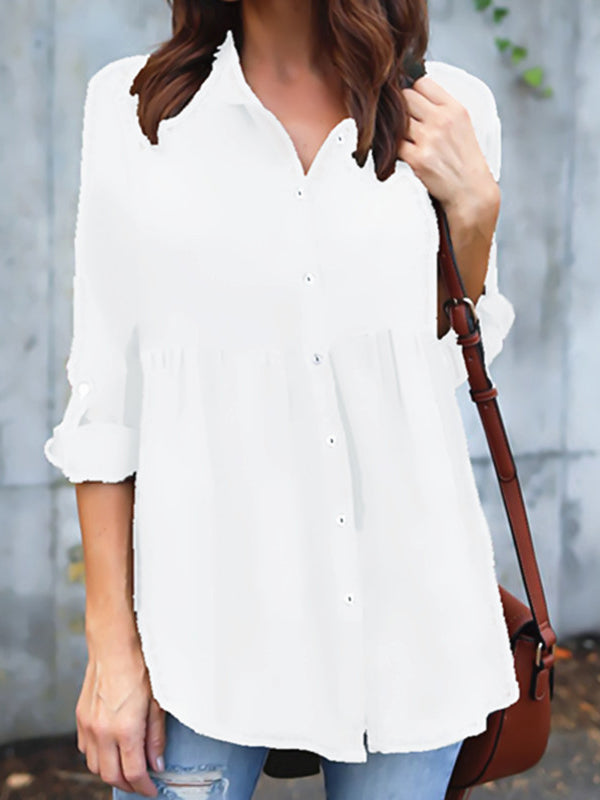 Long Sleeve Solid Shirts Blouses