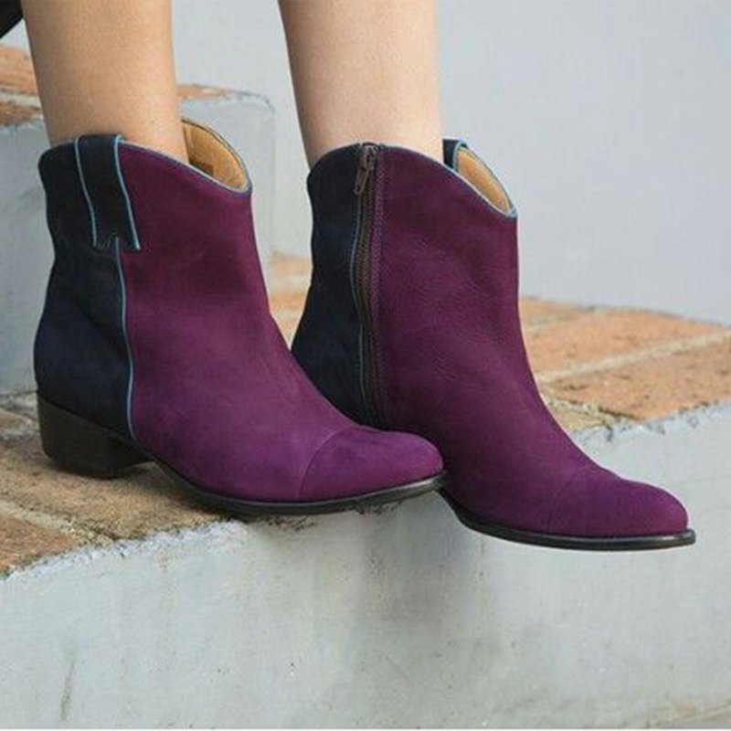 Suede Color Block Spring Boots