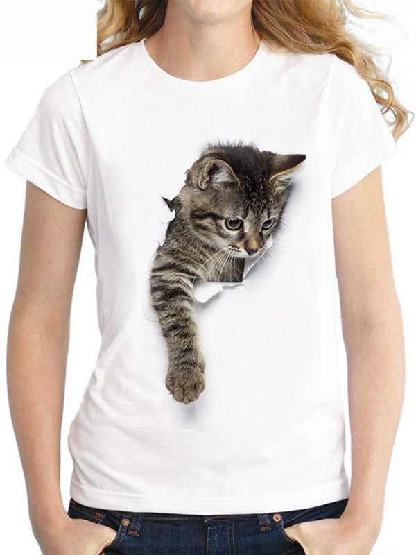 Short Sleeve Abstract Cat Printed Cute Casual T-Shirts