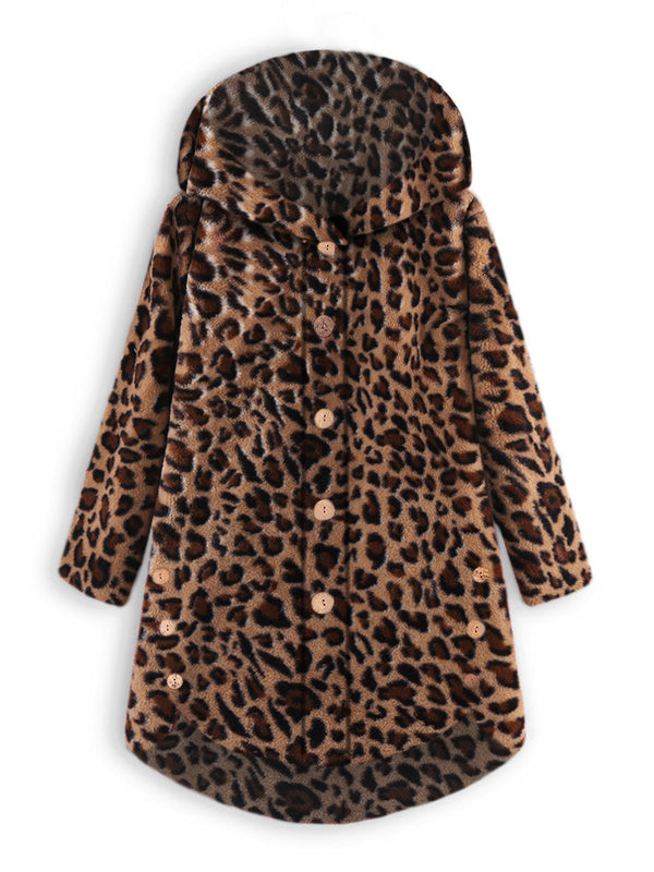 Cozy Leopard Fleece Hooded Fuzzy Asymmetrical Hem Button Teddy Bear Coat