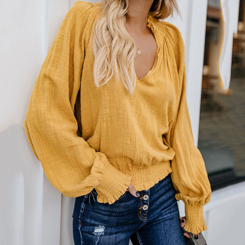 Vintage Solid Long Sleeve Tops -Blouses