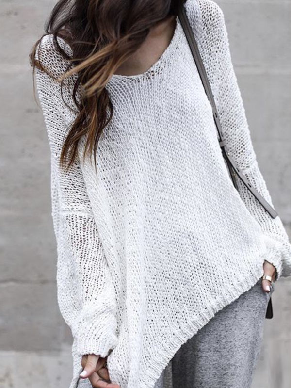 Casual Long Sleeve Round Neck Solid Sweater