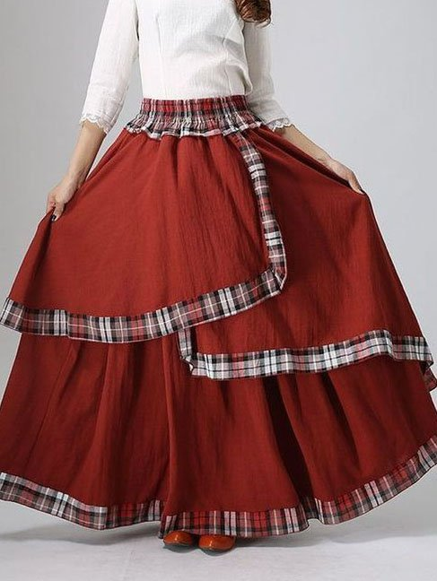 Red Vintage Checkered/plaid Asymmetric Cotton-Blend Skirts