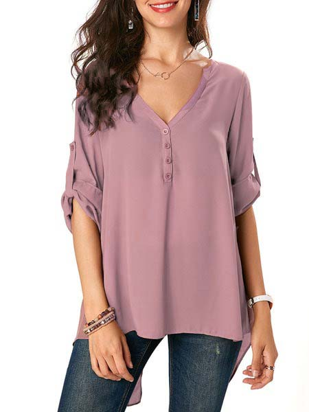 Solid Elegant V Neck Blouse
