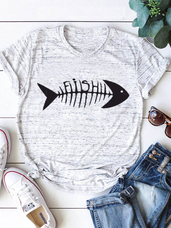 Casual Fish Bone Printing Crew Neck Short Sleeve T-Shirt