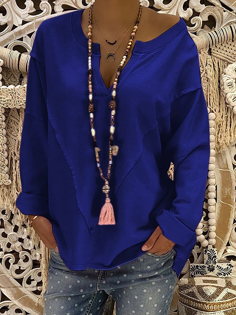 V-Neck Solid Long Sleeve Casual Cotton Plus Size Blouse
