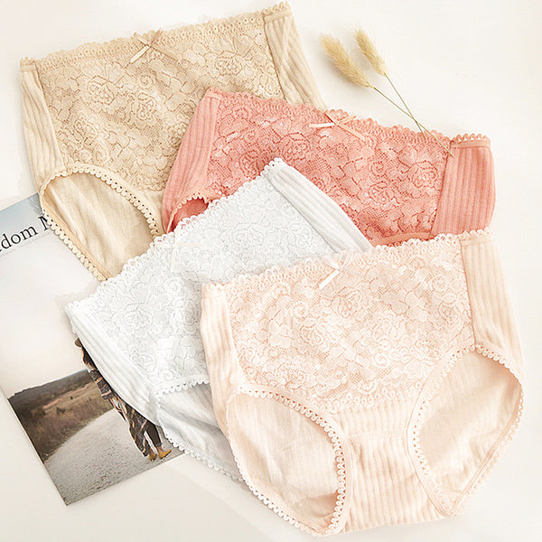 Mid Waist Pure Cotton Lace Edge Solid Color Briefs Panties