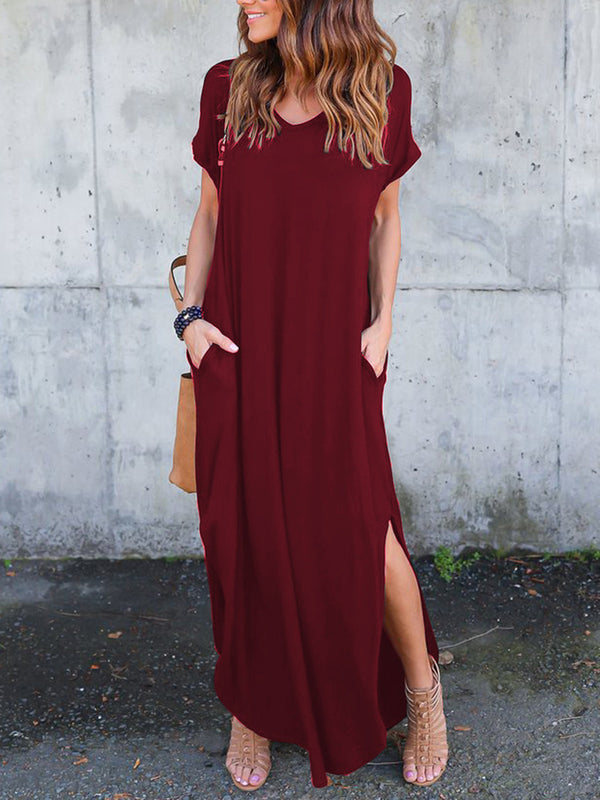 Women Pockets Slit V Neck A-line Casual Maxi Dress