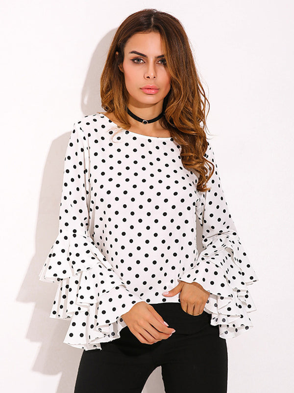 Polka Dots Frill Sleeve Tops - T-Shirts