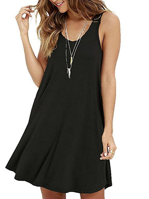 Solid Sleeveless Casual Dresses