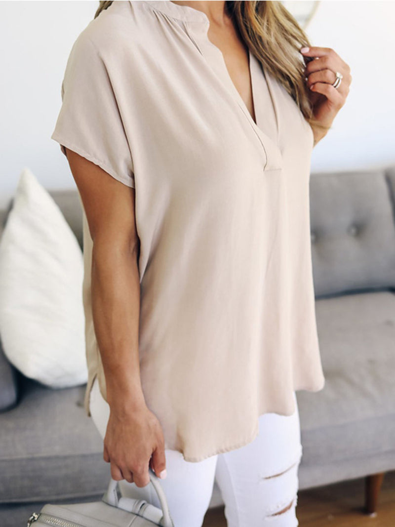 Solid Short Sleeve V Neck Tops - T-Shirts