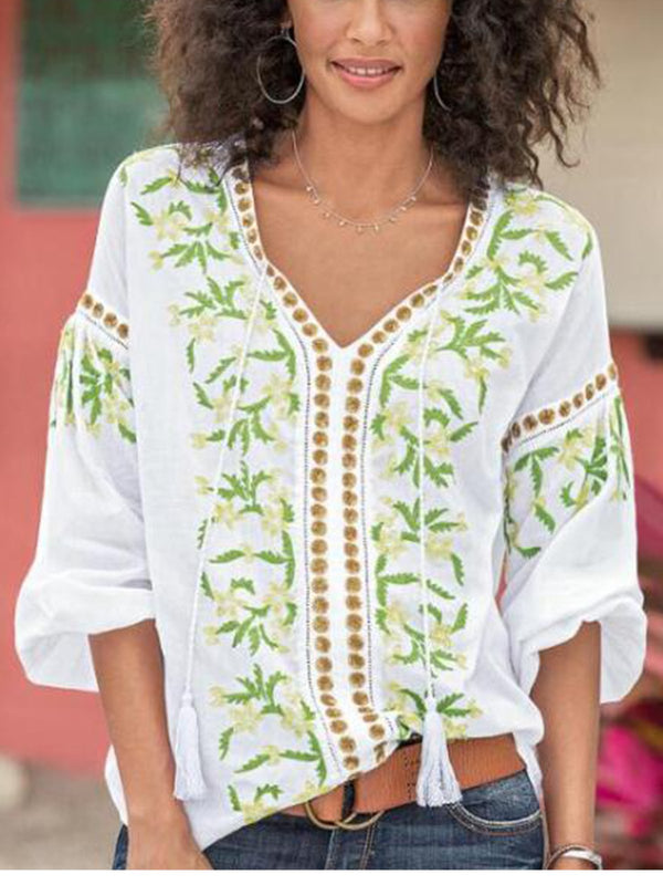 Green Chiffon Boho V Neck Half Sleeve Shirts & Tops