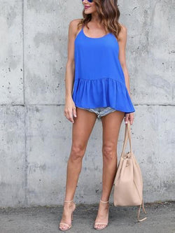 Solid Straped  Casual Tops - Tanks