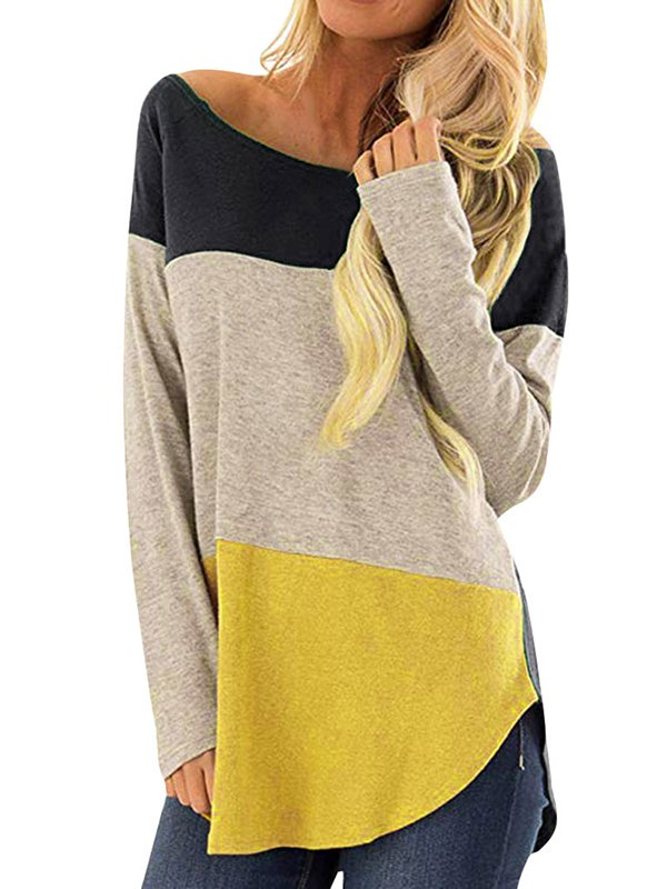 Striped Paneled Casual Crew Neck T-Shirts