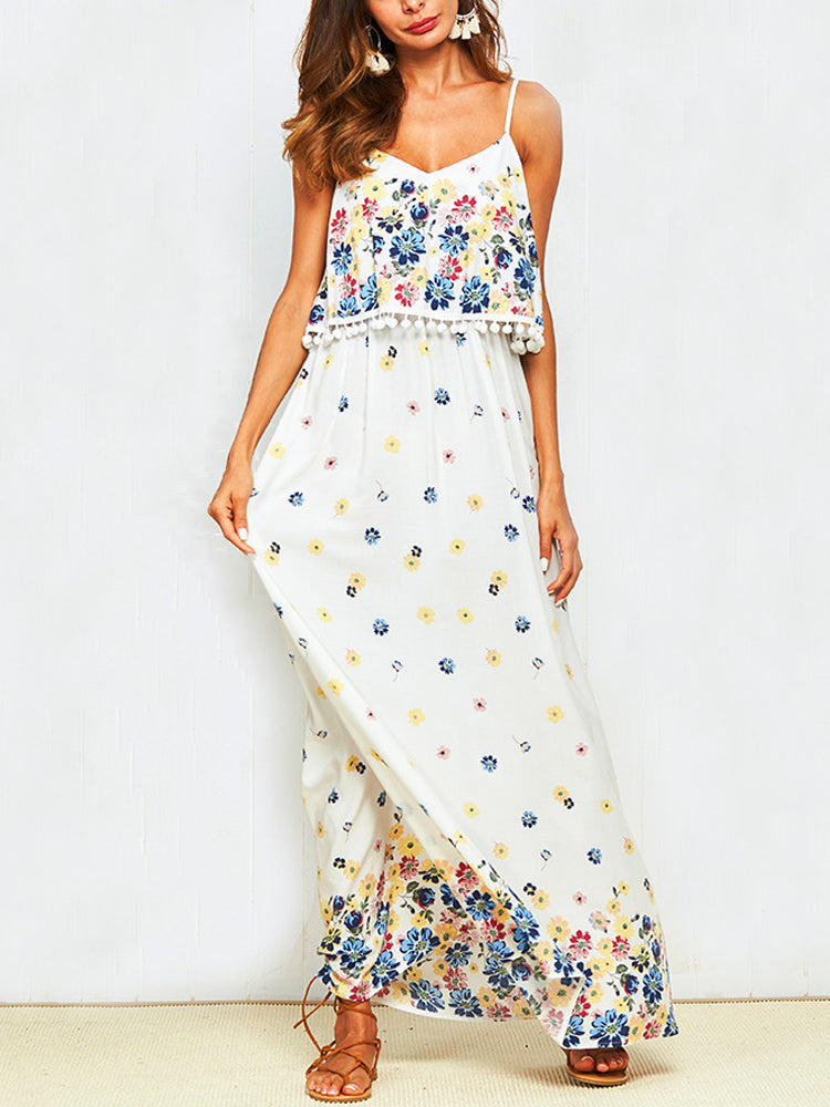 White Swing Straped Boho Floral Dresses