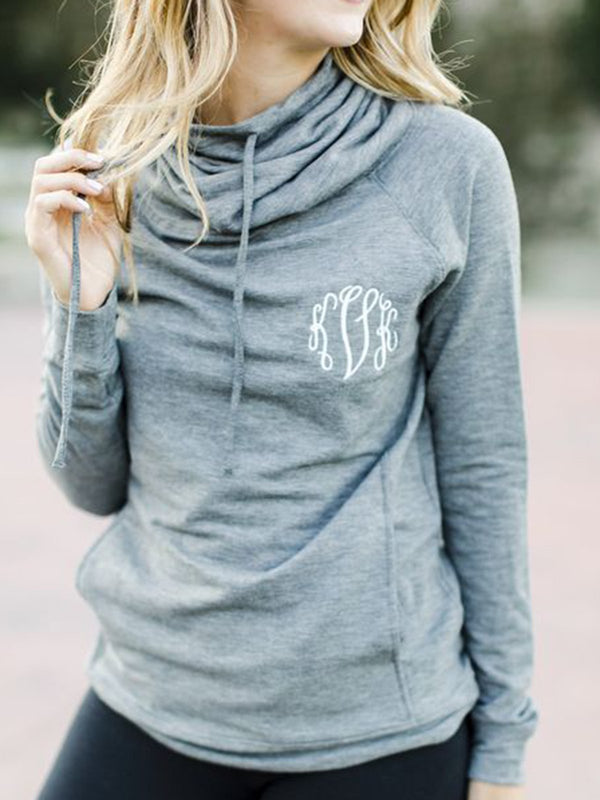 Gray Long Sleeve Hoodie Printed Cotton Shirts & Tops