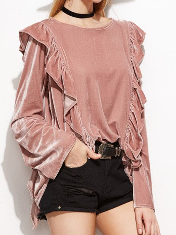 Pink Velvet Casual Crew Neck Shirts & Tops