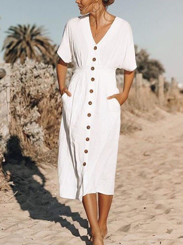 Solid Cotton Casual V Neck Dresses