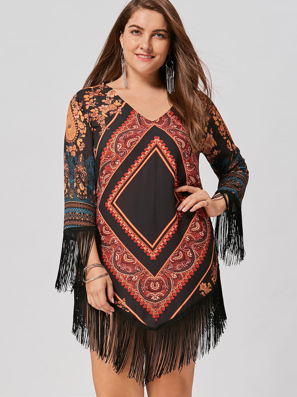 Multicolor Geometric Casual Fringe Dresses