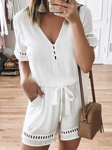 V Neck Solid Short Sleeve One-Pieces Rompers