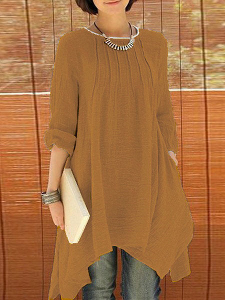 Asymmetrical Casual Crew Neck Dresses