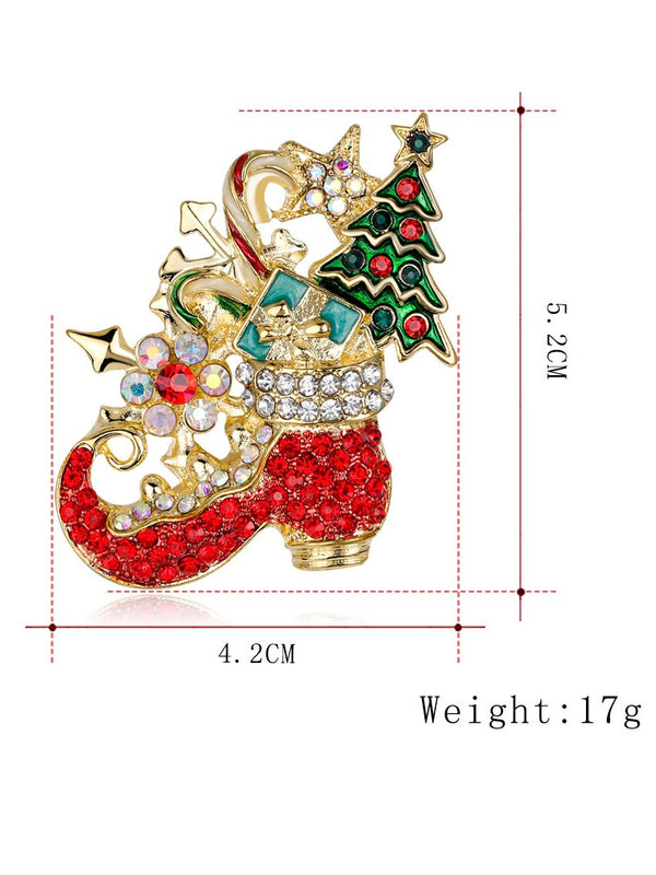 Christmas Red Alloy Elegant Brooches & Lapel Pins
