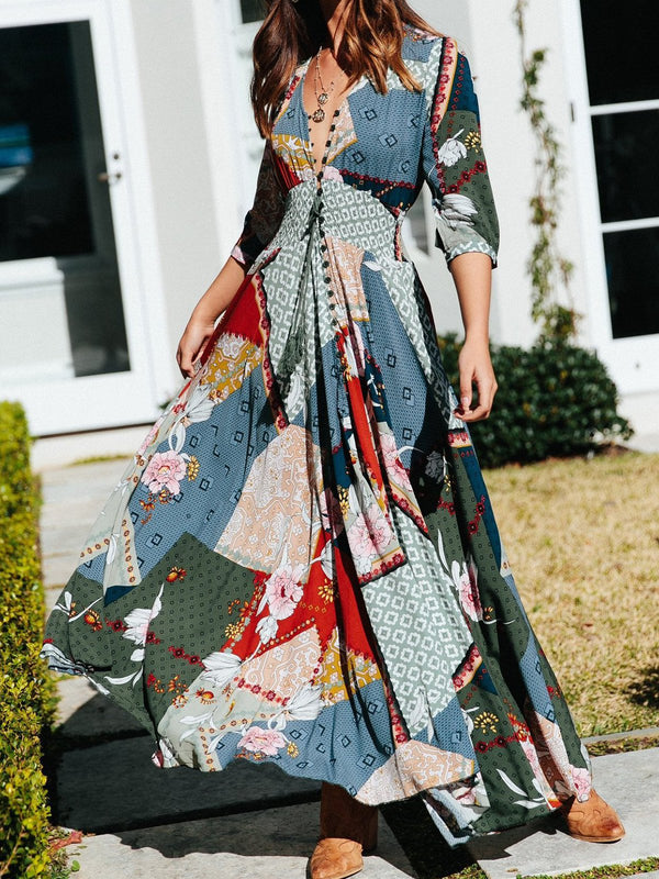 Floral 3/4 Sleeve Boho Swing Dresses
