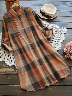 Plaid Printed Long Sleeve Casual Dresses