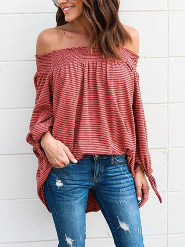 Long Sleeve Casual  Strapless GinghamTops - T-Shirts