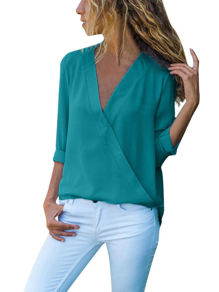 Casual Solid Long Sleeve Shirts Blouses