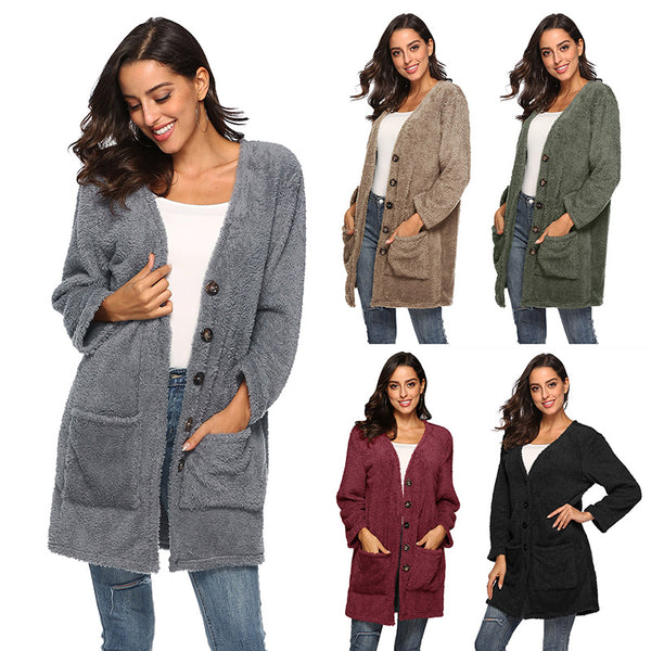 Solid Long Sleeve V Neck Shift Cardigan