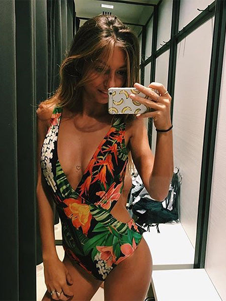 Green Floral-print  Backless One-Pieces