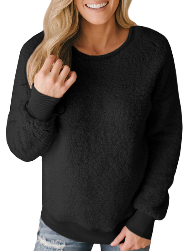 Plain Casual Long Sleeve Sweatershirt