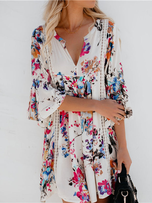 V neck White Bell Sleeve Casual Printed Floral Dress