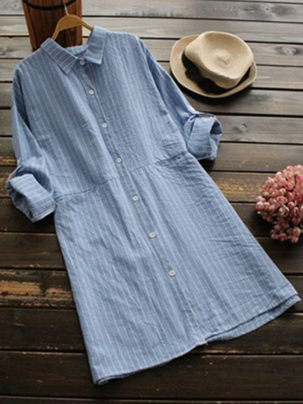Shirt Collar Cotton Long Sleeve Casual Clothing