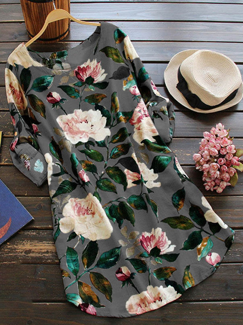 Women Daily Long Sleeve Floral-print Casual Dress